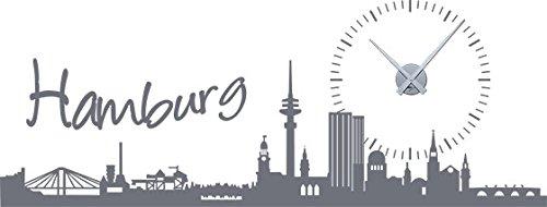 GRAZDesign 800234 wandtattoo wandklok Skyline Hamburg met zon als klok voor uw woonkamer Uhrwerk silber 071, grijs