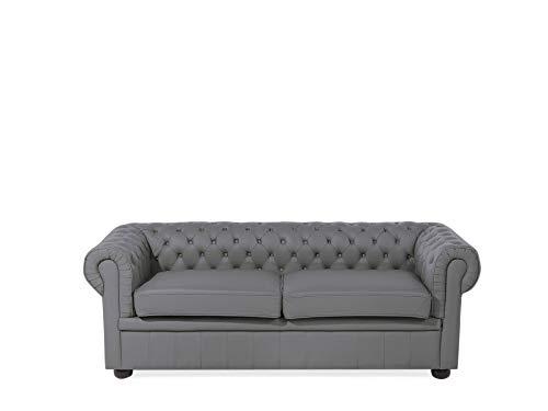 Beliani Klassisches Sofa im englischen Stil Echtleder grau Chesterfield