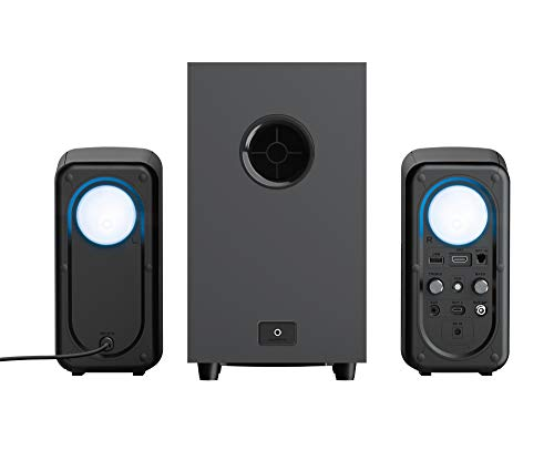 Trust Gaming 2.1 Lautsprecher für PC mit Bluetooth GXT 635 Rumax - Computer Boxen, RGB Soundsystem, Fernbedienung, PC/Laptop/PS4/PS5