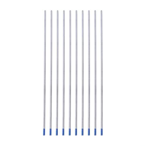 10 electrodos de tungsteno TIG, punta azul WL20, varillas de electrodo de soldadura de tungsteno lantano al 2%, 10 unidades para soldadura CC de aceros inoxidables, aleaciones de níquel,(2,4 * 175 mm)