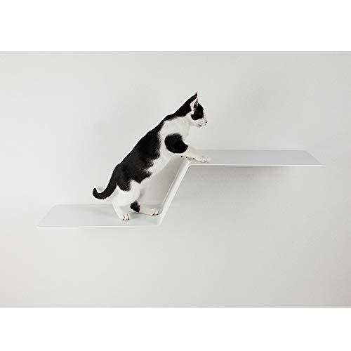 LucyBalu kat klimhulp Wave I wandgemonteerd plank 92 x 24 x 29 cm I gepoedercoat metalen board, wit