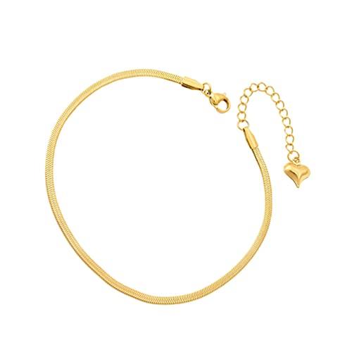 VALICLUD Tobillera de Playa Diseño de Serpiente Tobillera de Verano Cadena de Pie Oro Corazón Pulsera Joyería Cadena de Muñeca para Mujeres Niñas Decoración Personalizada