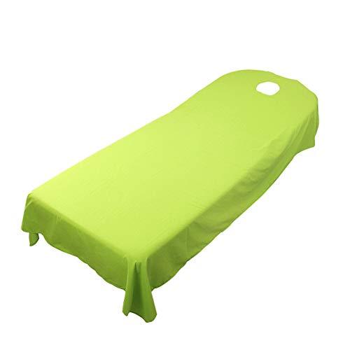 SUPEWOLD Housse de table de massage, drap de lit de massage, pour table de soins de SPA, de beauté, de cosmétique, avec trou pour le visage, drap-housse en tissu éponge, Green, 120cmx190cm