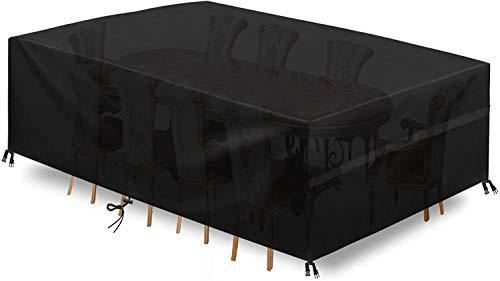 king do way Abdeckung Gartenmöbel Gartentisch Abdeckung Wasserdicht, 600D Polyester Schwarz, Abdeckung für Gartenmöbel-Set, Tisch und Stühle Outdoor Staubdicht (600D Oxford, 180 * 120 * 74cm)