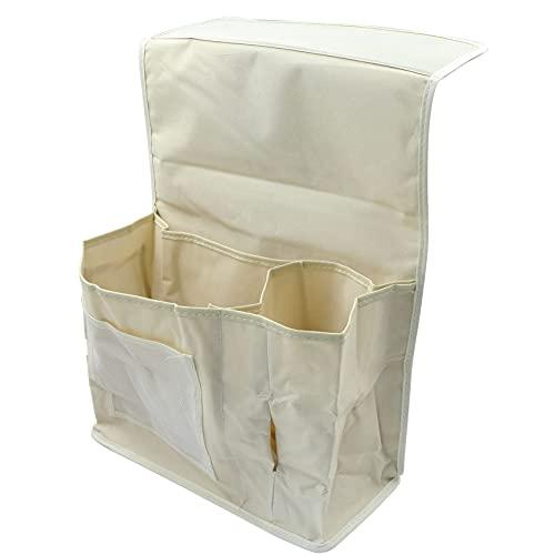 Bolsa de cama para colgar en la cama, el sofá, organizador mesita noche, con 7 bolsillos mandos juegos, bolígrafos, revistas, aperitivos, vasos (blanco)