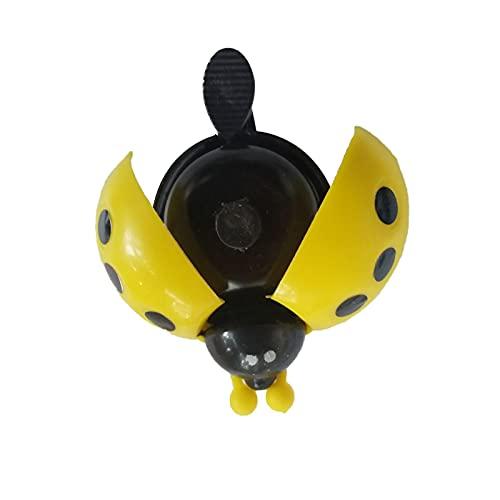Retro Kinder Fahrradklingel Fahrradglocke Radfahren, Süßer Marienkäfer Design Fahrradglocke, Fahrradhupe Klingel Glocke Hupe für Fahrrad, geeignet für Kinderfahrräder (Gelb)