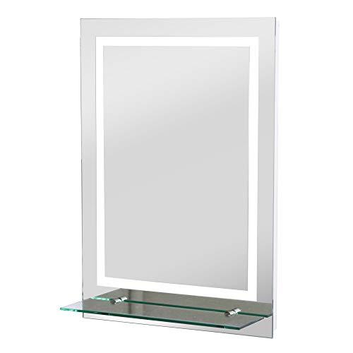 kleankin Specchio da Bagno Luci a LED, Interruttore Touch Mensola in Vetro con Utensili per Montaggio a Parete 70x50cm