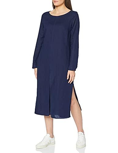 Marca Amazon - MERAKI Vestido Largo de Lino Mujer, Azul (Navy), 38, Label: S