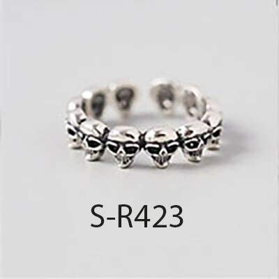 WRRPS Arete 925 Sterling Silver Anillos de Plata de Estilo múltiple Tamaño Hecho a Mano 18 mm Anillos Ajustables para Hombres Mujeres para decoración (Gem Color : S R423, Ring Size : Resizable)