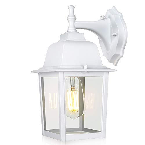 WENFENG Dusk to Dawn Outdoor Light Fixtures Wall Mount, with Waterproof Anti-Rust Matte Finish, Clear Glass Shade, Exterior Lights for House Porch Garage Outside(White)