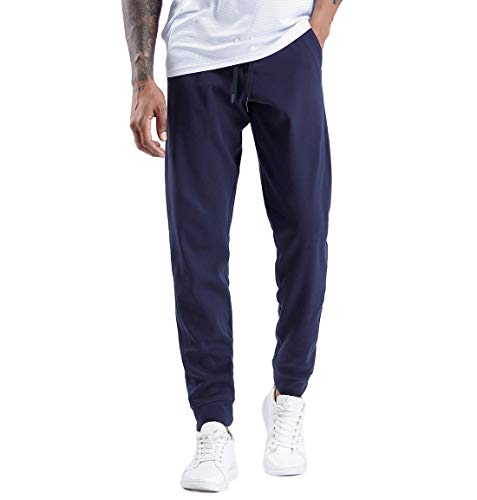 THE GYM PEOPLE Men's Fleece Joggers Pants with Deep Pockets Athletic Loose-fit Sweatpants for Workout, Running, Training (Large, Blue)