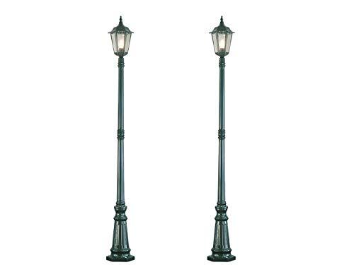 2-delige set weglampen FIRENZE, E27, aluminium groen, incl. paal en fundering; KONSTSMIDE 7233-600