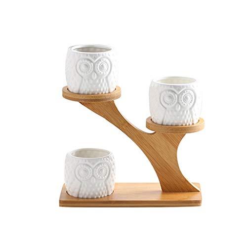 Soporte de Flores Soporte de Planta Juego de combinación Suculentas de cerámica Juego de macetas pequeñas Estilo Simple Decoración de balcón Decoración