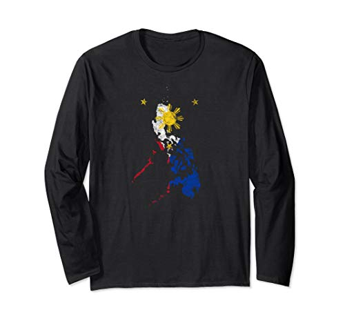 Filipino Map and Flag Souvenir - Distressed Philippines Long Sleeve T-Shirt