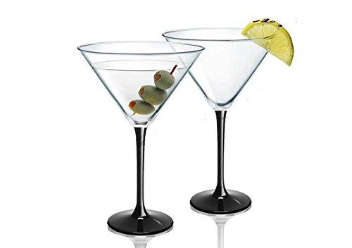 SOLAVIA Lot de 6 verres à martini transparents à pied noir 260 ml Prestige