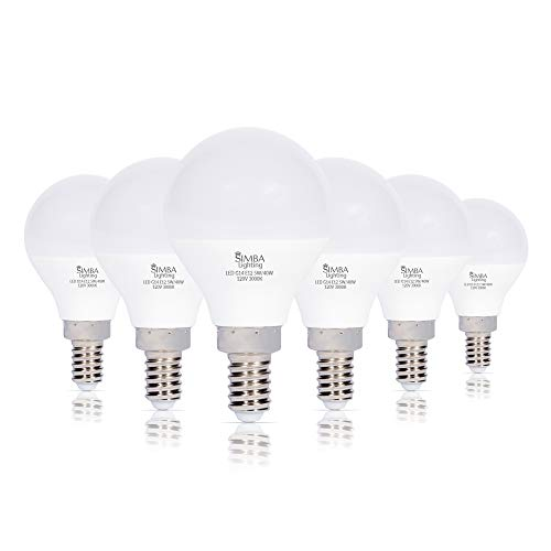 Simba Lighting LED Candelabra E12 Base G14 Small Globe 5W 40W Replacement Light Bulb (6 Pack) for Ceiling Fan, Chandelier, Vanity, Round A15 Frosted White Cover, Non-Dimmable, 3000K Soft White