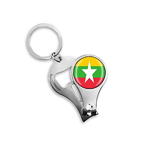 Myanmar Flagge Bier Flaschenöffner Nagelknipser Metall Glas Kristall Schlüsselanhänger Reise Souvenir Geschenk Schlüsselanhänger Zubehör