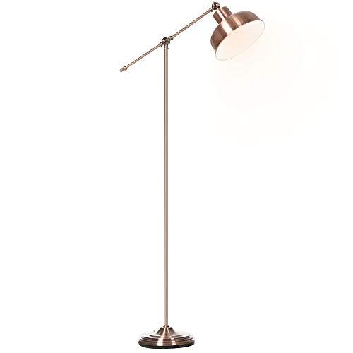 HOMCOM Stehlampe, Industrielle Stehleuchte mit Verstellbarem Schirm, Standleuchte E27 Fassung, Metall, Rotbronze, 68,5 x 25 x 148cm