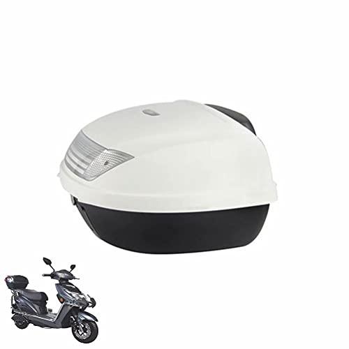HGTRH Baul Moto Custom 2 Cascos, Baúl Moto 52 litros, Maleta Moto con Respaldo, 58 x 43 x 32 cm Respaldo de Maletas para Moto, Baul Moto Blanco con Dos Llaves Accesorios