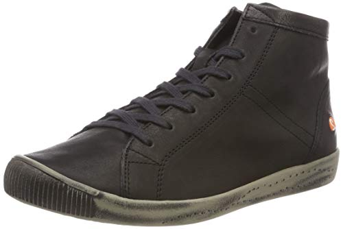 Softinos Damen Sneakers Isleen, Frauen High Top Sneaker,lose Einlage, Sneaker-Stiefelette sportschuh mid-Cut Freizeit,Schwarz(Black),40 EU / 6.5 UK