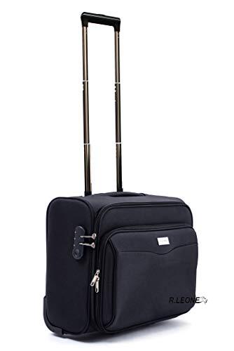 R.Leone Valigia bagaglio a mano 2 Ruote rinforzate Pilota Poliestere Stoffa adatto easyjet 45X36X20 (Nero)
