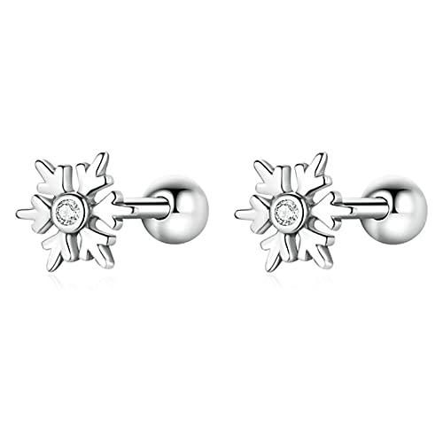 AMTBBK Pendientes De Copo De Nieve De Plata Brillante Zircon 925 Standling Silver Stud para Mujer Joyería De Boda De Invierno