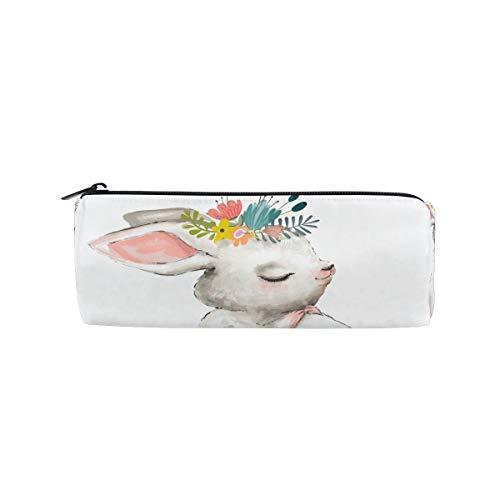 Stifteetui, Motiv: süßes Kaninchen, für Schule, Stifte, für Kinder, groß, Weiß