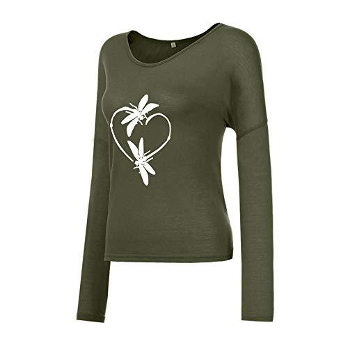 Xmiral Langarmshirt für Damen Lässiger Herzdruck Valentinstag V-Ausschnitt Lose T-Shirt Oberteile(c-Grün,M)