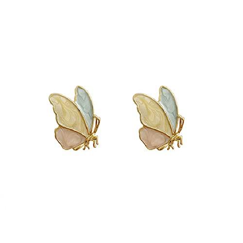 925 aguja de plata simple goteo aceite mariposa pendientes personalizados mujer dulce y pequeño temperamento lindo pendientes de color de moda