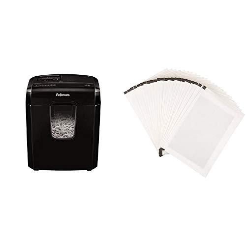 Fellowes Powershred 6C Partikelschnitt Aktenvernichter ((P-4) 6 Blatt Papierschredder, mit Sicherheitssperre für Zuhause) & Amazon Basics - Schmiermittelblätter für Aktenvernichter, 24er-Pack