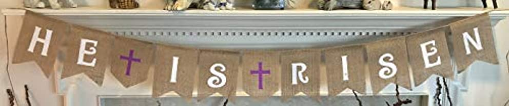 HE is Risen Burlap Banner - Easter Bunting Decoration with Crosses - Religious Holiday Bunting Wall Hanging - Ready to Hang Church Prop Decorations - by Jolly Jon ?