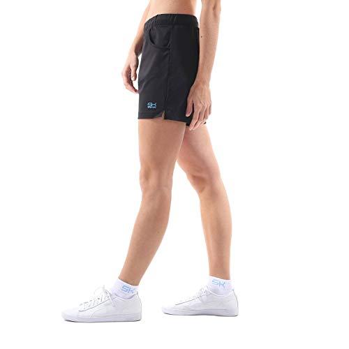 Sportkind Mädchen & Damen Tennis, Fitness, Bermuda Shorts mit Taschen, atmungsaktiv, UV-Schutz, schwarz, Gr. XXL