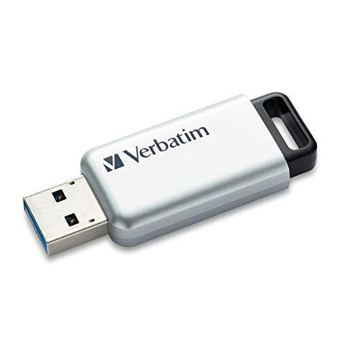 VERBATIM Store \'n\' Go Secure Pro USB-Stick I USB-3.2 Gen 1 I 32GB I Speicherstick mit Kennwortschutz I USB-3-Stick mit Verschlüsselung I externer Speicher für Laptop Notebook & Co I silber