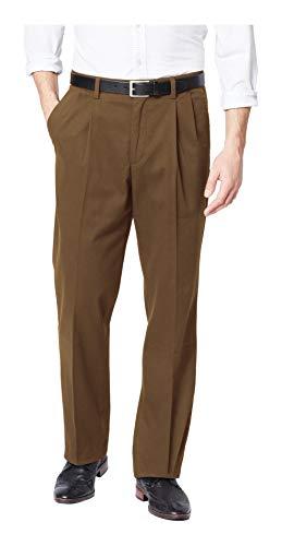 Dockers Pantalon plissé pour homme Coupe classique Kaki - marron - 30W x 30L