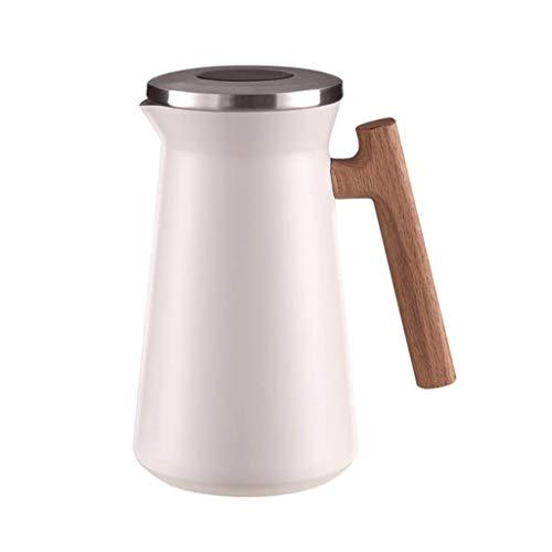 YWSZJ Vacío de Acero Inoxidable de Doble Pared con Aislamiento Pot retención de Calor Jarra térmica con Mango de Madera Termo jarro de Agua for el café Bebida de té (Color : White)