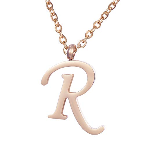 Morella Women's Stainless Steel Necklace Rose Gold with Pendant Letter R