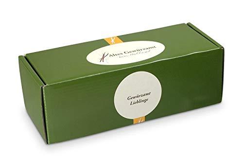 Altes Gewürzamt Gewürz Geschenk-Box klein Lieblinge - Mélange Noir, Toskanisches Pastagewürz, Kartoffelstampfgewürz und Curry Anapurna
