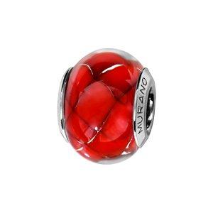 1001 Bijoux scorrevole charm, argento rodiato con vetro di Murano, colore: rosso