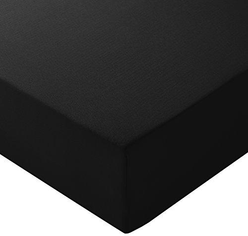 AmazonBasics - Lenzuolo con angoli in microfibra, 160 x 200 x 30 cm, Nero