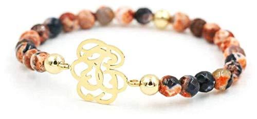 HAOKTSB Pulsera de Piedra Mujer, 7 Chakra 20cm Perlas de Piedra Natural Naranja semiprecioso Brazalete Dorado joyería Hueco de Oro Yoga Encanto difusor Mujer Pulsera de Piedra