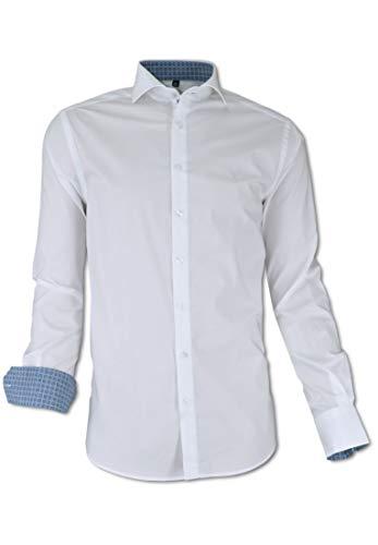 Carlo Colucci Business Stretch-Hemd mit Kentkragen, Weiß Weiß L