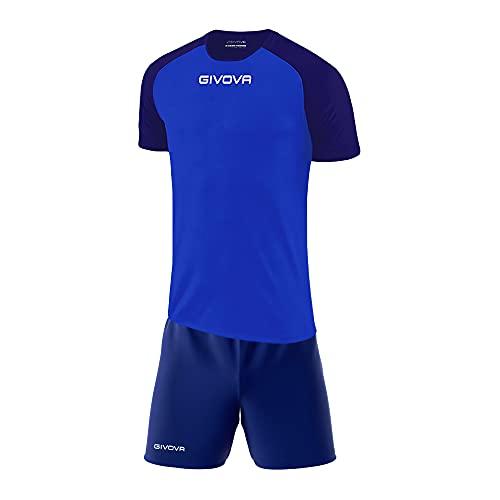 Perseo Sport Kit Calcio Givova Capo Completo Maglia e Pantaloncino Calcetto Volley Fitness (XL, Azzurro/Blu)