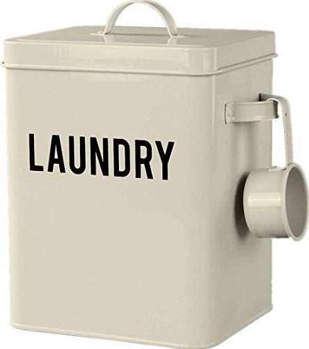 LA JOLIE MUSE Laundry Detergent Powder Storage Tin Box, Farmhouse Laundry Room Decor, 9 Inch High, Cream