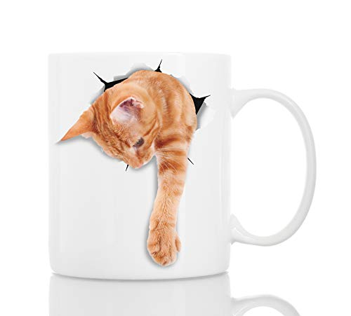Adorable Ginger Cat Coffee Mug - Ceramic Funny Coffee Mug - Perfect Cat Lover Gift - Cute Tabby Cat Coffee Mug - Great Birthday or Christmas Present for Friend or Coworker, Men and Women (11oz)