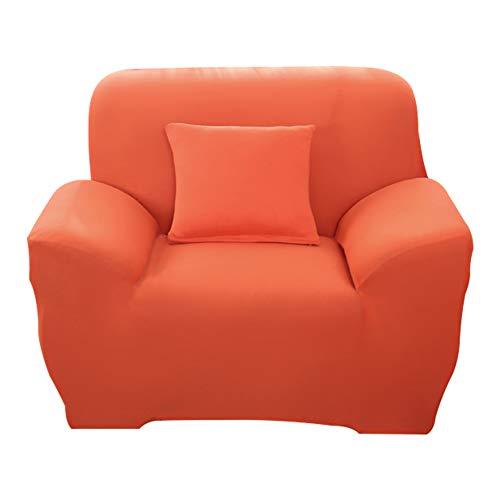 Hotniu 1-Stück Elastisch Sofaüberwurf Sesselbezug, Sofaüberzug Polyester, Sofahusse Sesselhusse Stretch, Sofabezug für Sofa, Couch, Sessel zum Schutz, mehrere Farben (1 Sitzer 90-130cm, Orange)