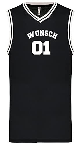 Wunschnummer + Name Basketball University Trikot Tank Shirt Navy Black White S M L XL XXL 3XL Teamshirt Personalisierbar (Black-White, XL)