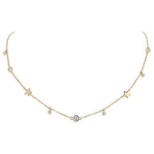 EVER FAITH Gargantilla de estrella de plata de ley 925 con circonitas doradas, cadena delicada para mujer y niña