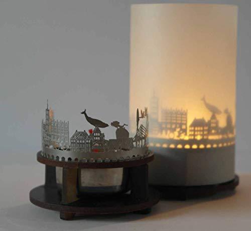 13gramm Stralsund-Skyline Windlicht Schattenspiel Premium Geschenk-Box Souvenir, inkl. Kerzenhalter, Kerze, Projektionsschirm und Teelicht