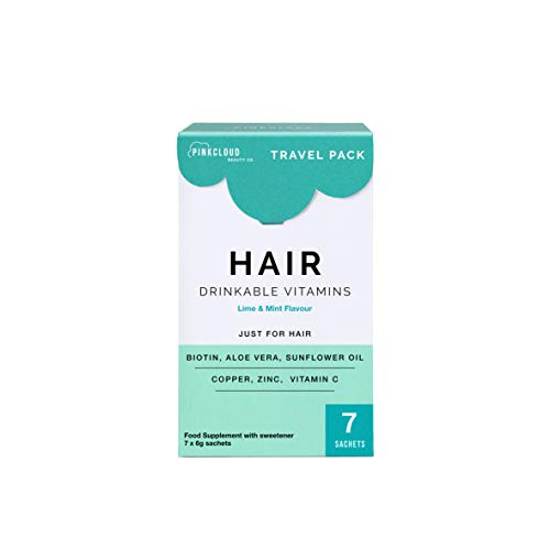 Hair Drinkable Vitamins with Biotin, Aloe Vera & Sunflower Oil - Vegan Hair Growth Supplement for Longer & Healthier Hair | 1 Week Supply (7 Sachets) | Pink Cloud Beauty Co.