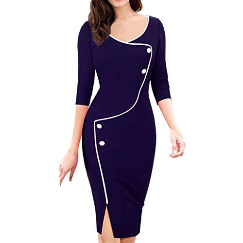 Damen Kleider Elegant Frauen Herbst Winter Beil?ufig V-Ausschnitt Sieben Punkte ?rmel Vordergabel Bleistift-Kleid